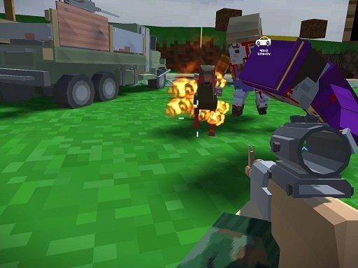 Juega Blocky Zombie And Vehicle Shooting juego